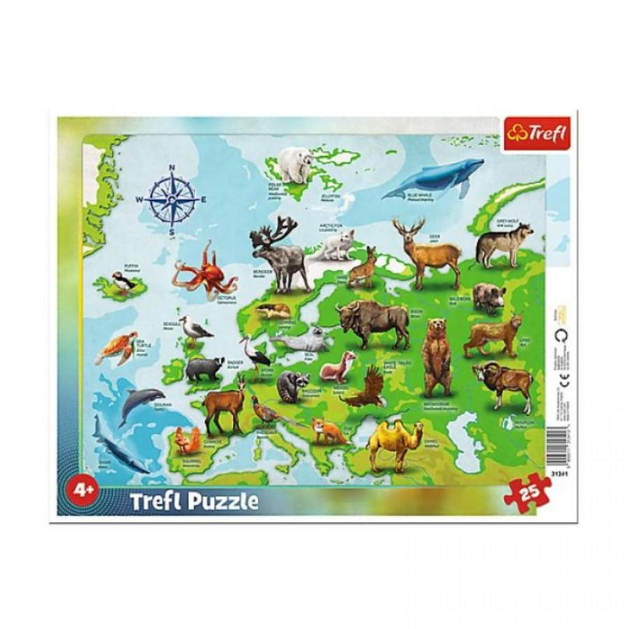 Παζλ Χάρτης Ευρώπης με Ζώα 4+ 35914
