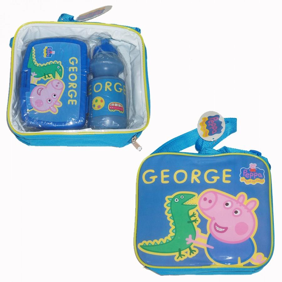 Τσάντα με δοχείο φαγητού και παγουρίνο George Pig 14024