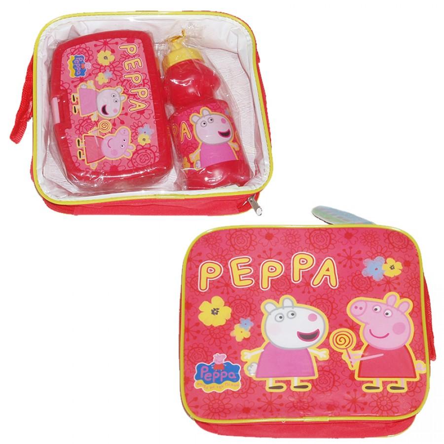 Τσάντα με δοχείο φαγητού και παγουρίνο Peppa Pig 14022